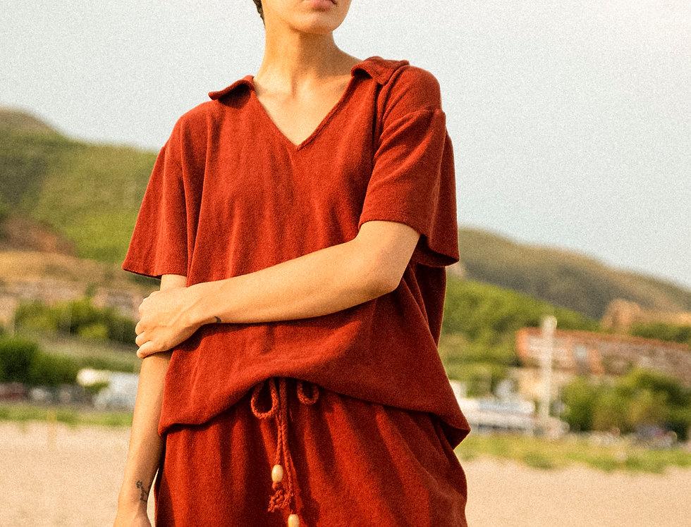 Patti pants organic towelling in terracotta