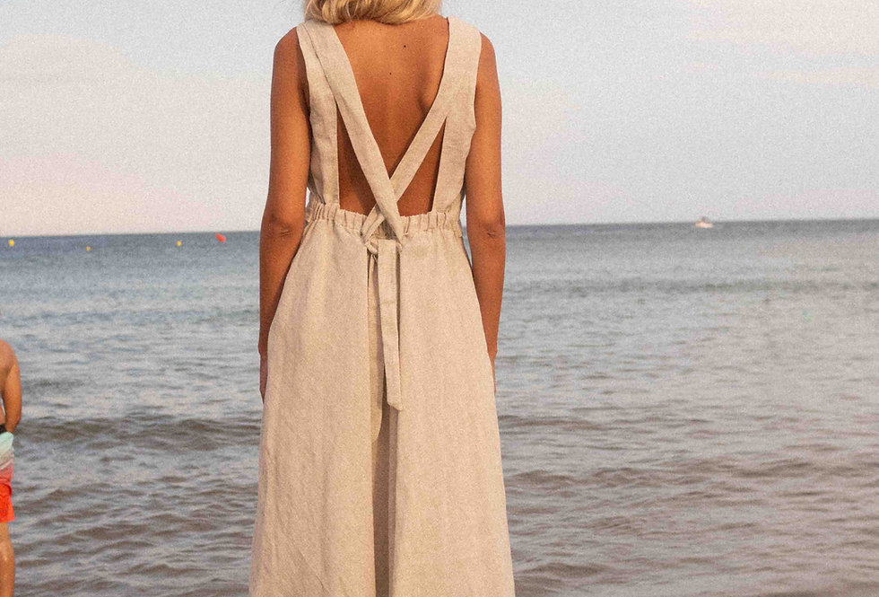 Sophia bio organic linen dress in mini gingham sand