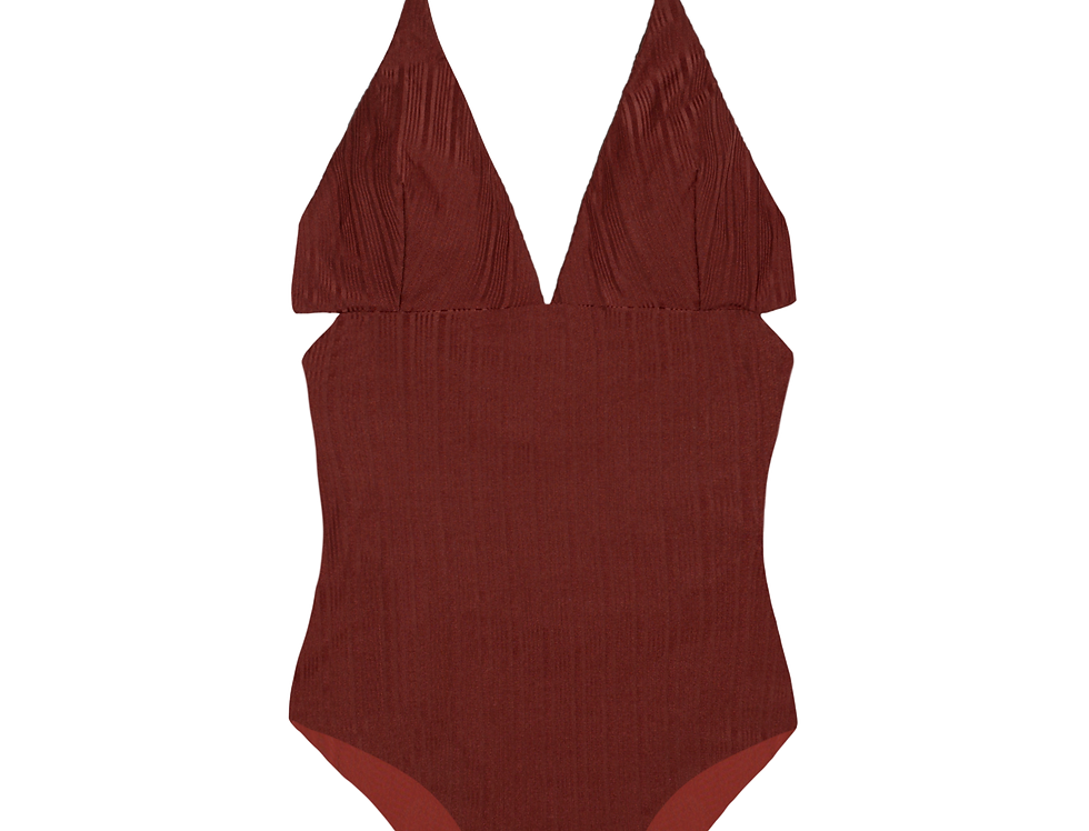 Anne ribbed reversible swimsuit in terracotta