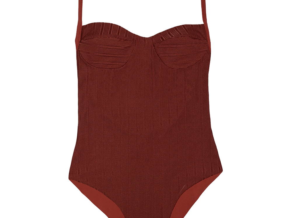 Colette ribbed reversible swimsuit in terracotta