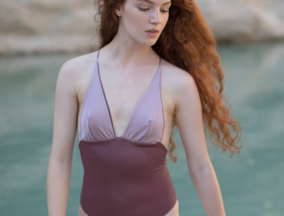 Grete reversible swimsuit in Mauve