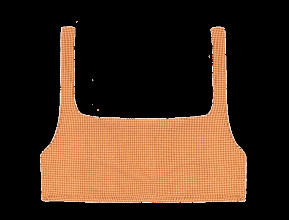 Jane reversible top in mini gingham orange