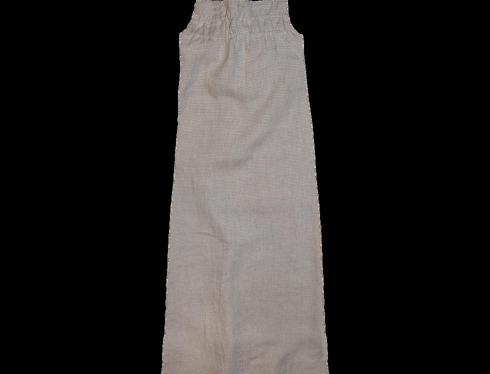 Marsha Bio organic linen dress in mini gingham sand
