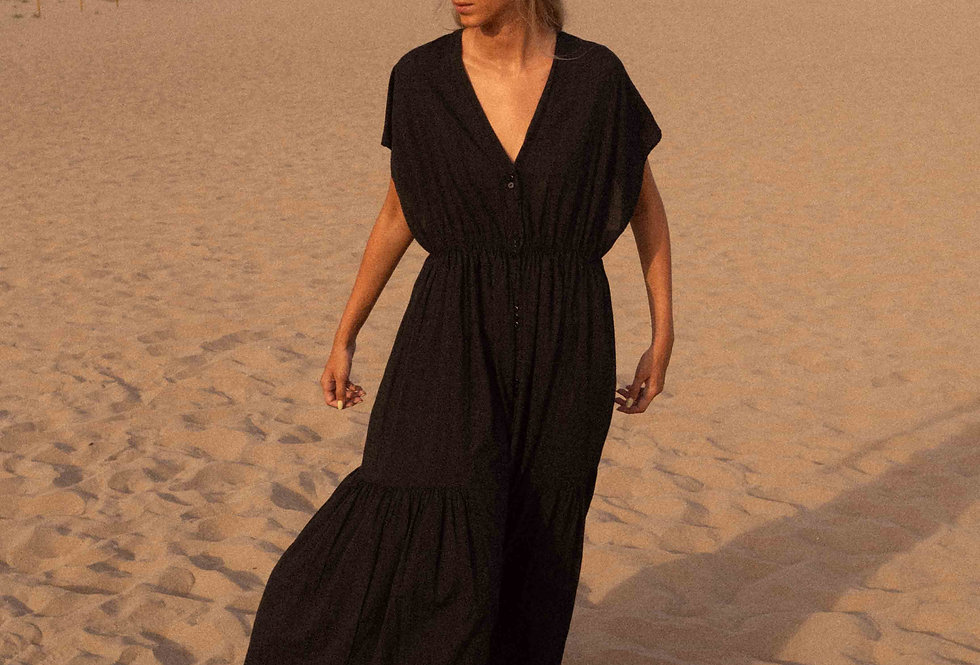 Aretha shirt dress in maxi lenght in black