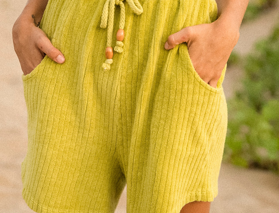 Joanne organic towelling shorts in lime