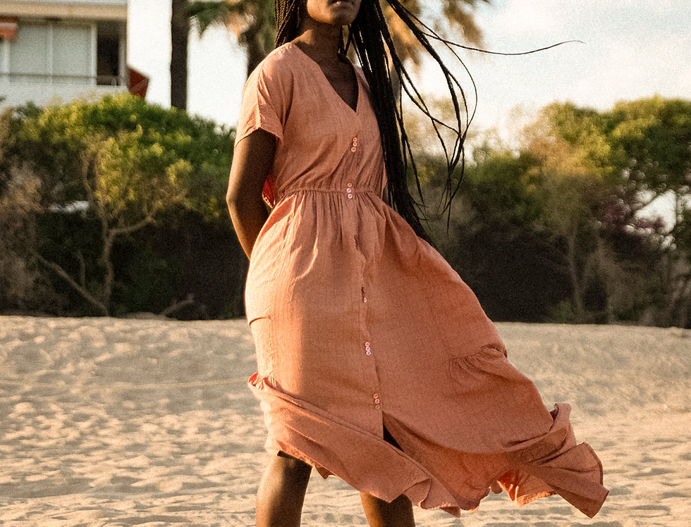 Aretha shirt dress in maxi lenght in rose