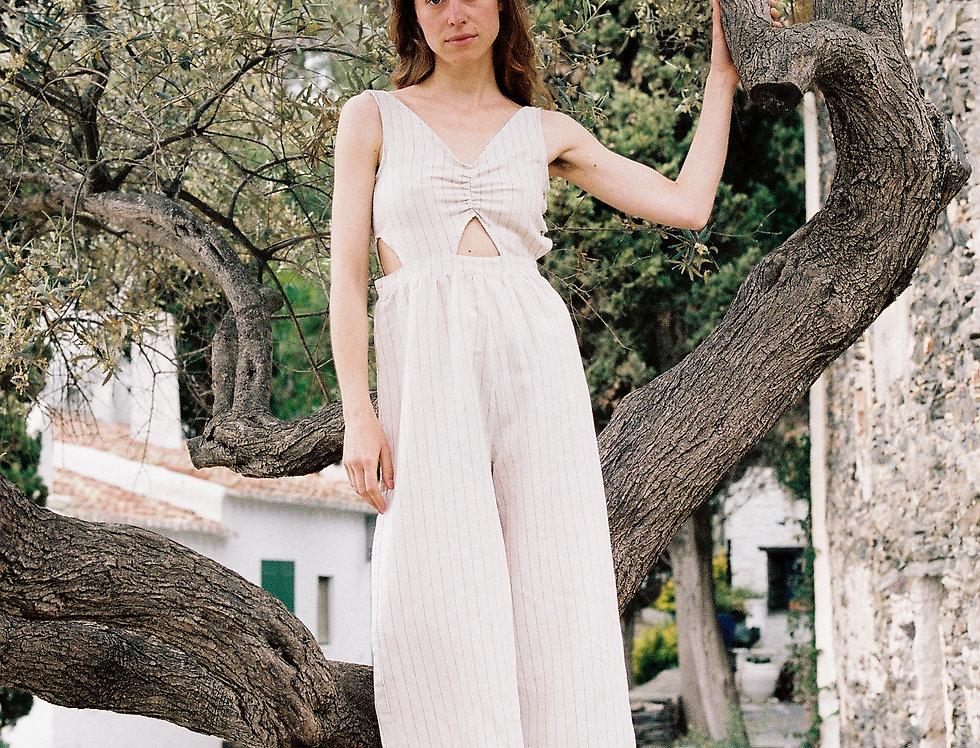 Louise bio organic linen jumpsuit in stripes