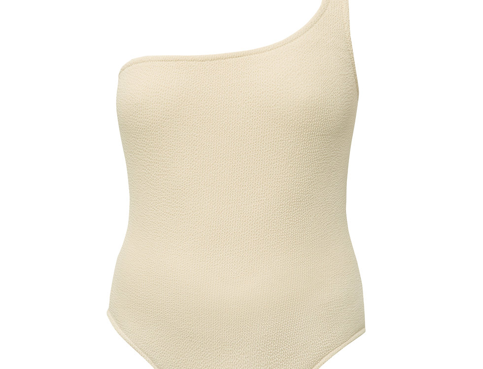 Margot textured one-shoulder swimsuit.