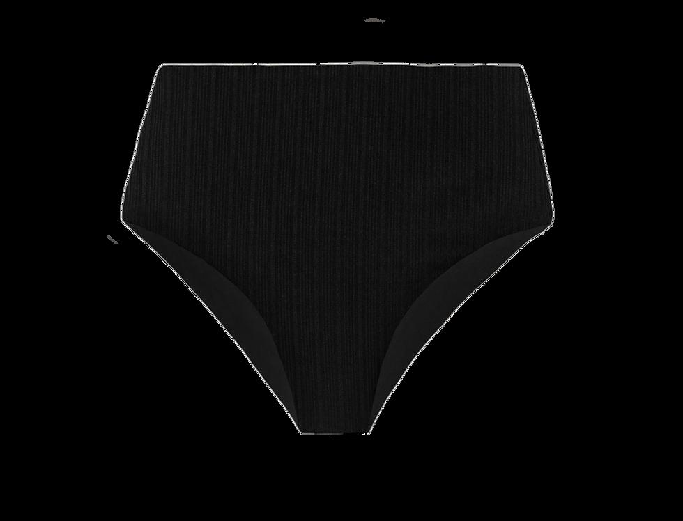 Jane  reversible ribbed high waisted bikini bottom in black