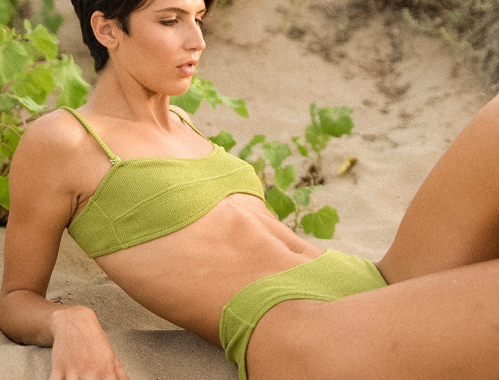LUCIA textured Bandeau top in olive