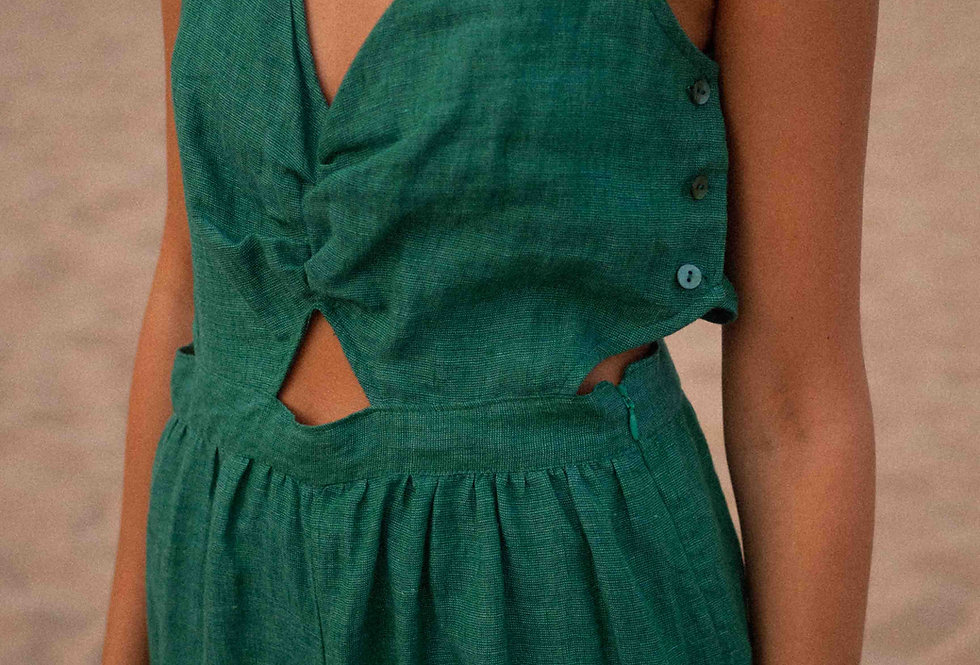 Louise bio organic linen jumpsuit in green