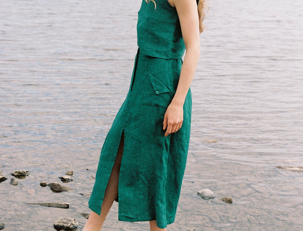 Eva Bio organic linen skirt in green