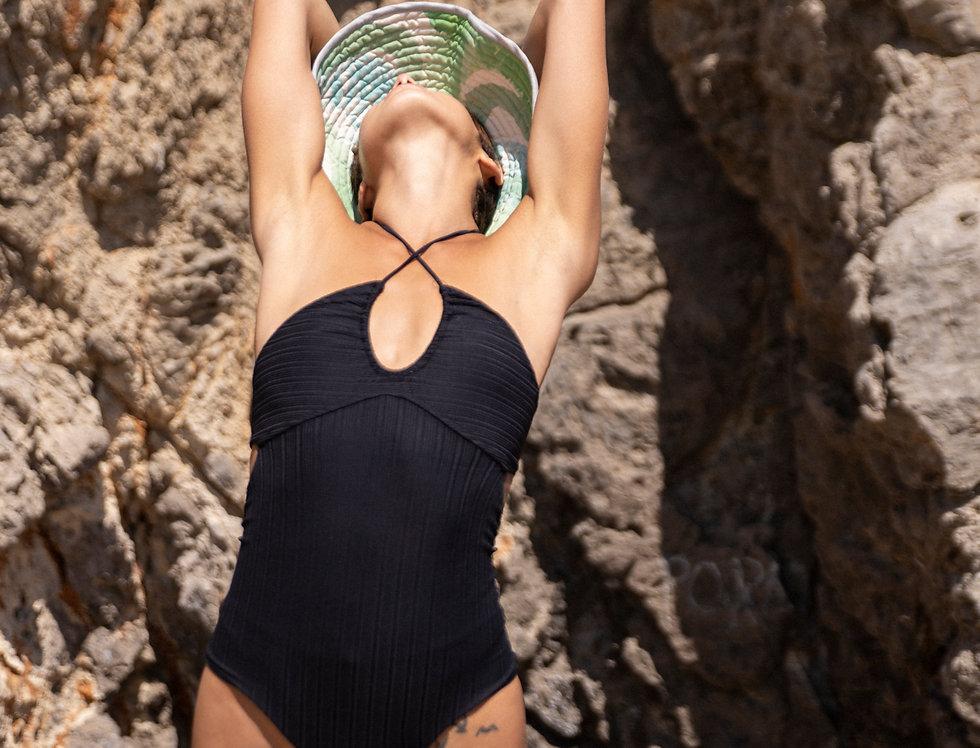 Ilse ribbed swimsuit in black
