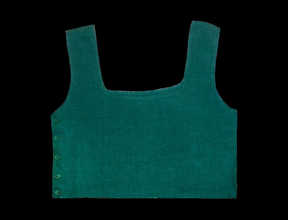 Ada organic linen top in green
