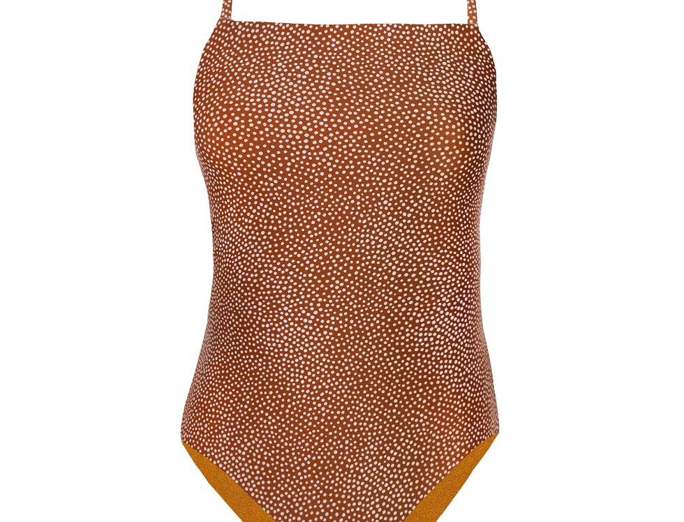 Camille reversible swimsuit cocoa dots / mustard