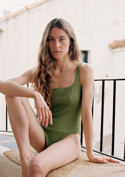 Eugenie textured swimsuit in olive