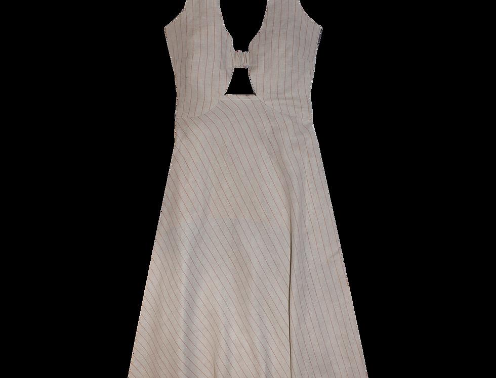Sophia bio organic linen dress in stripes