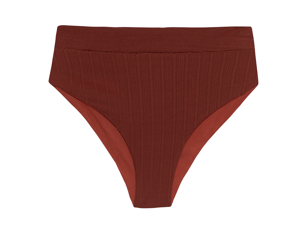 Gabrielle reversible ribbed  high bottom in terracotta