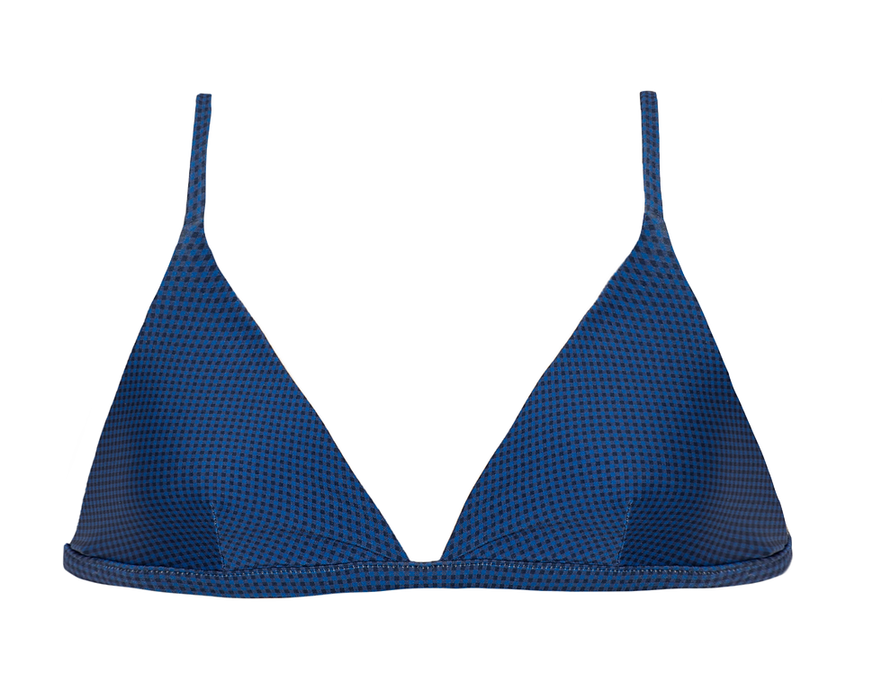 Simone reversible triangle top in mini gingham blue
