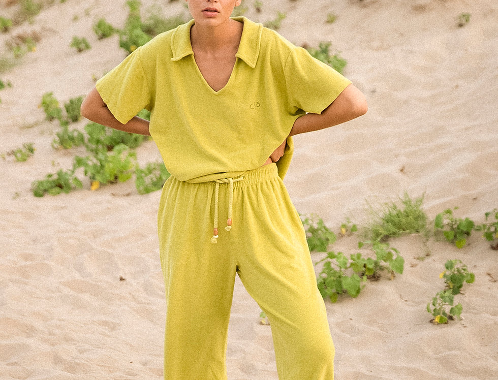 Patti pants organic towelling in lime