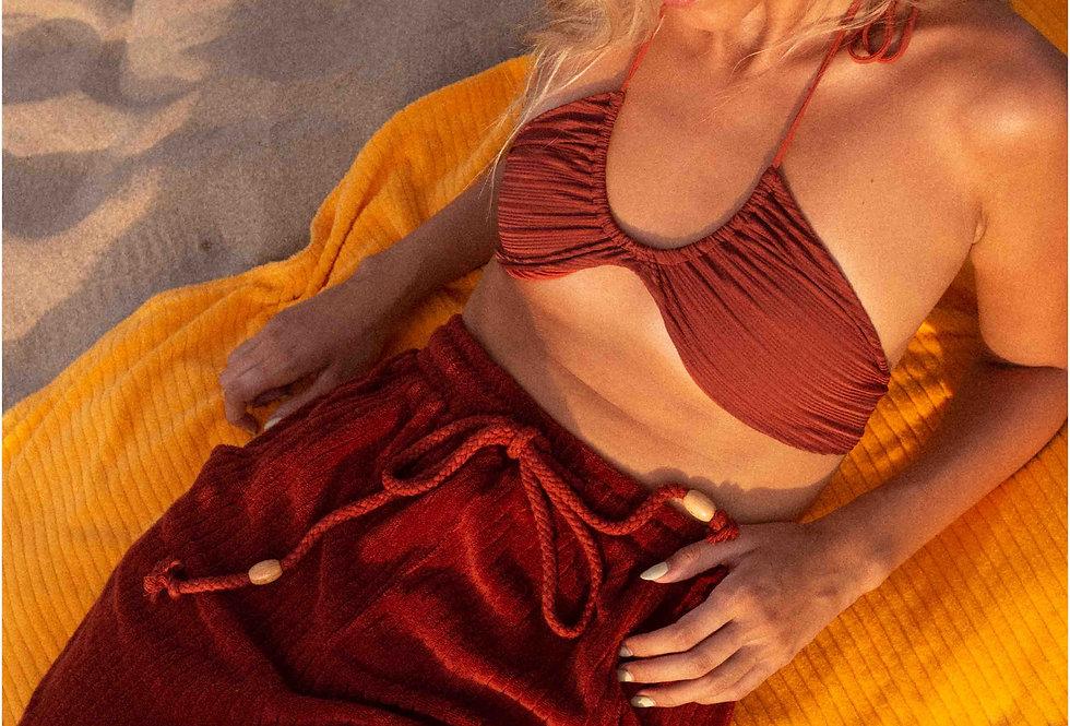Joanne organic towelling shorts in terracotta