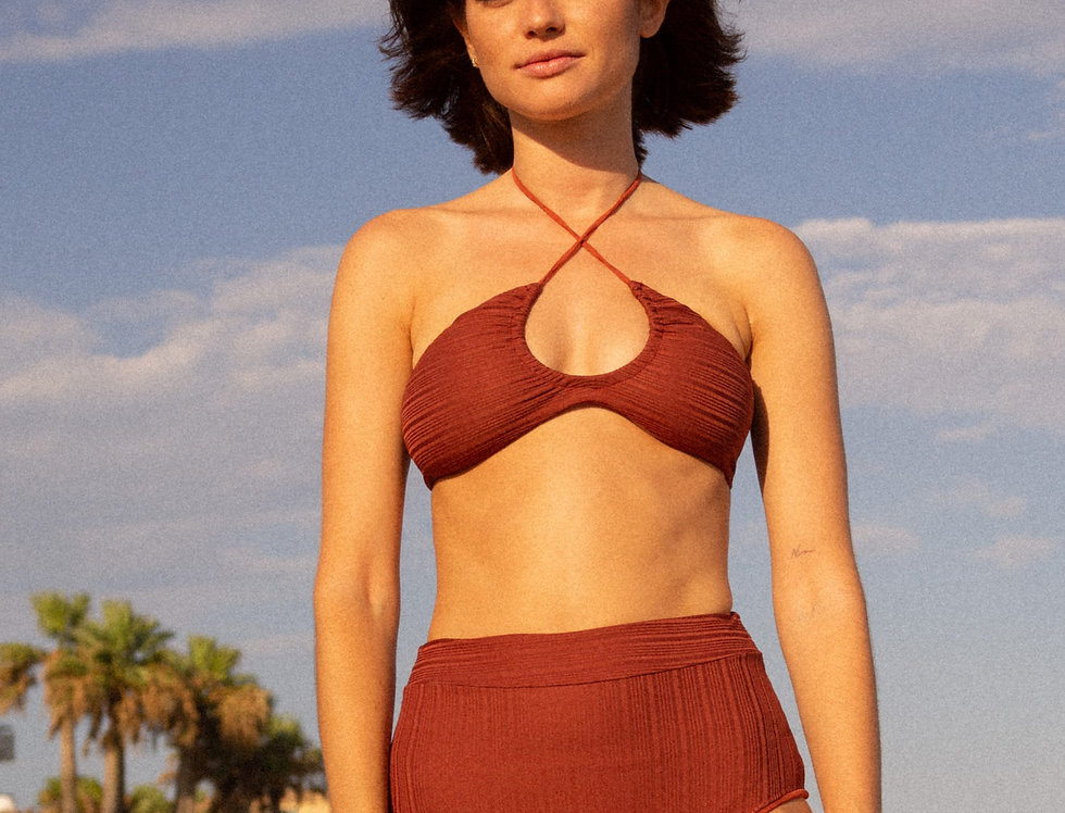Ilse ribbed top in terracotta