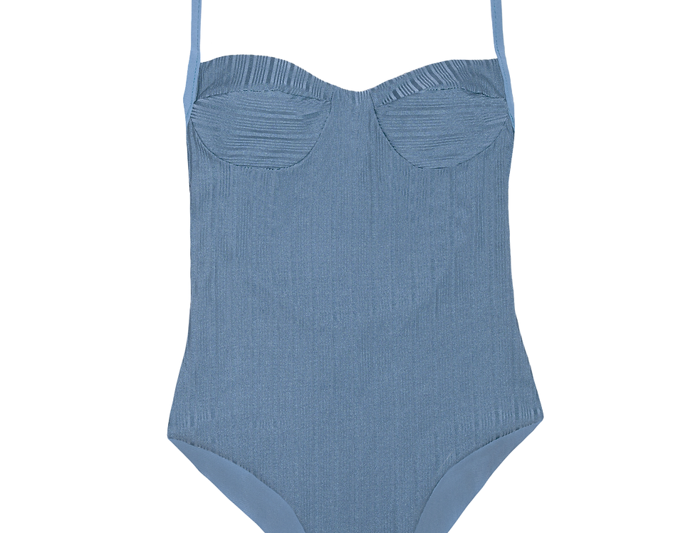 Colette ribbed reversible swimsuit in shiny sky blue