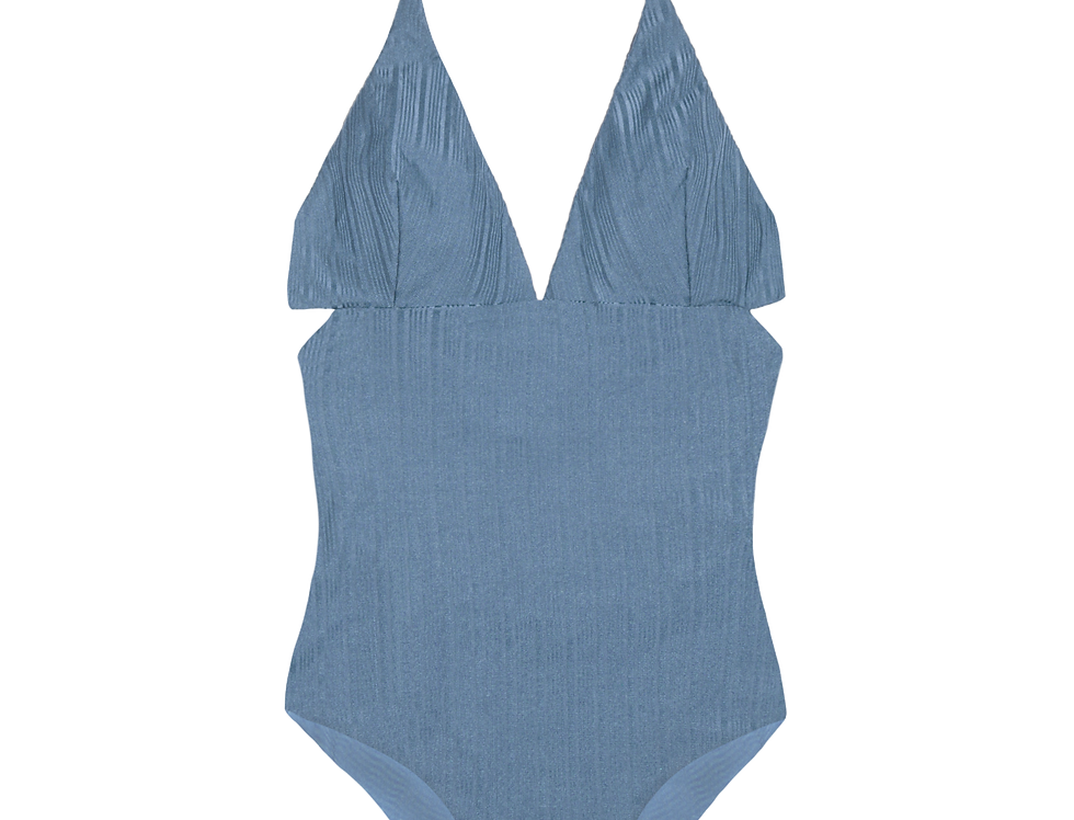 Anne shiny ribbed reversible swimsuit in sky blue