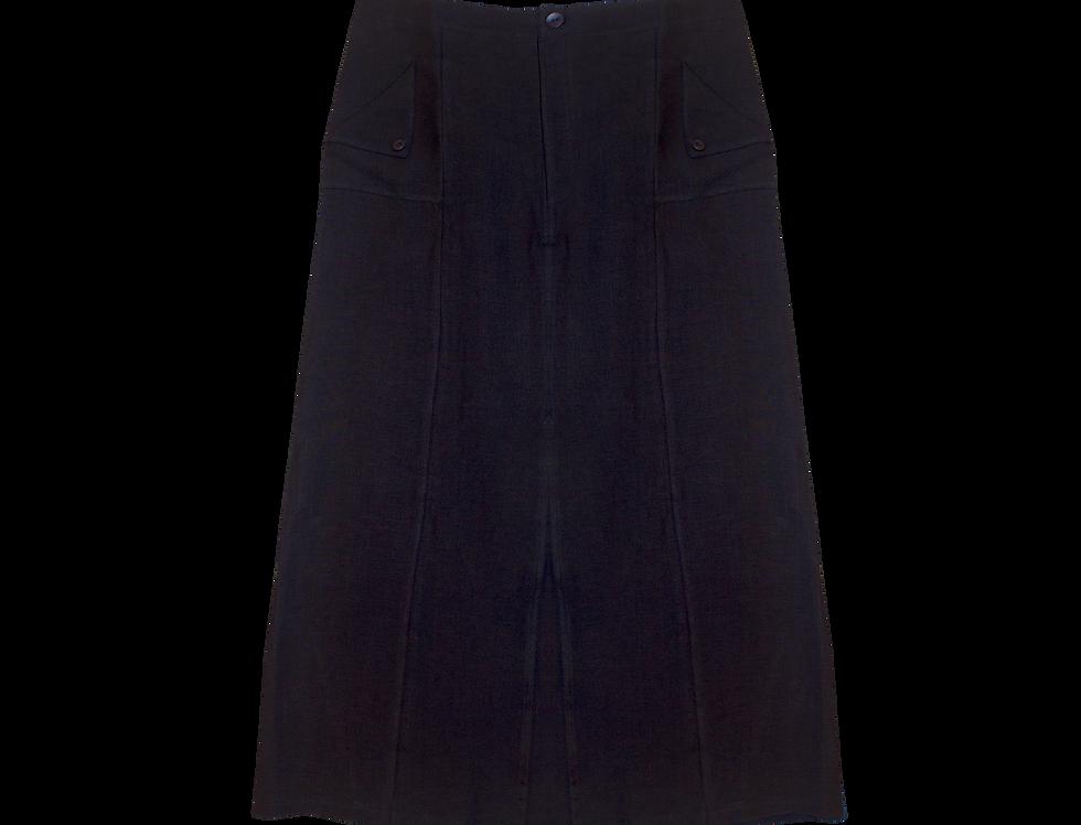 Eva Bio organic linen skirt in night blue