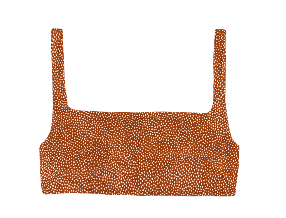 Jane reversible top in cocoa dots / mustard