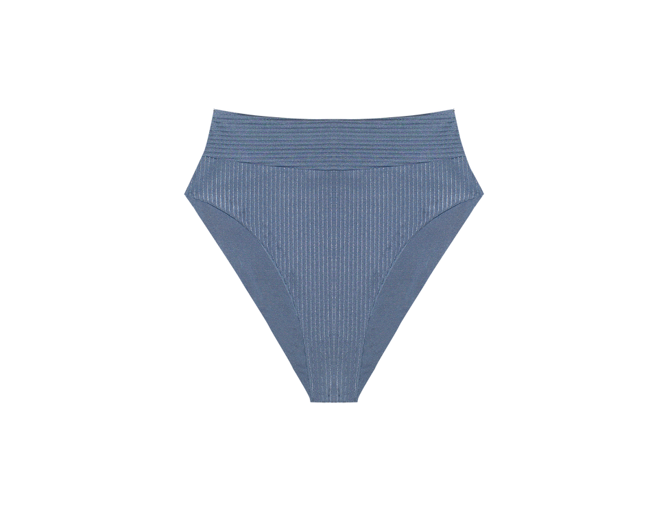 Gabrielle reversible ribbed  shiny high bottom in sky blue