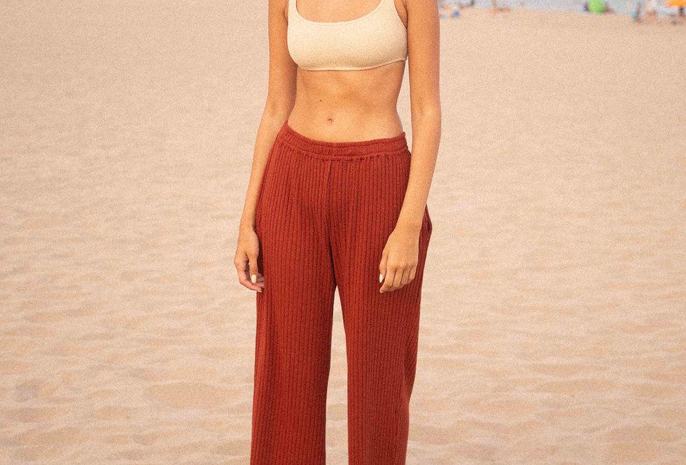 Norah organic ribbed pants terracotta