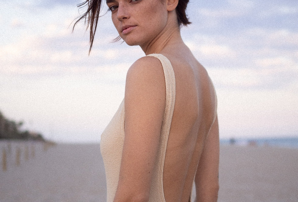 EUGÉNIE textured swimsuit in sand
