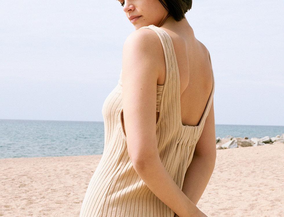 Norah organic ribbed dress in sand