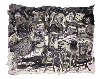 Ink drawing on Handmade Paper