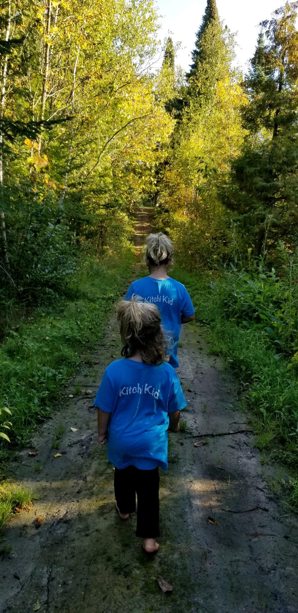 Kids walking the trail