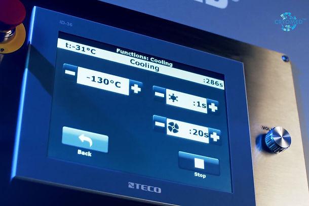 Cryosauna's control screen