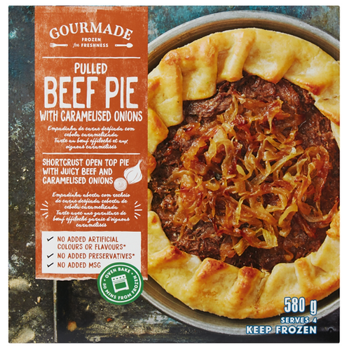 Gourmade Frozen Pulled Beef With Caramelised Onion Pie