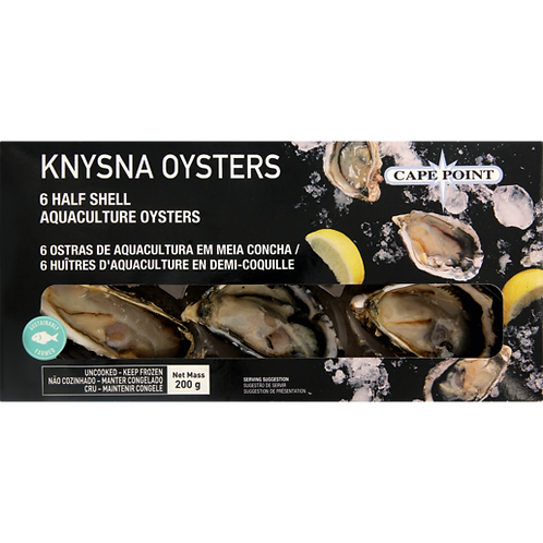 Cape Point Frozen Knysna Half Shell Oysters 6 Pack