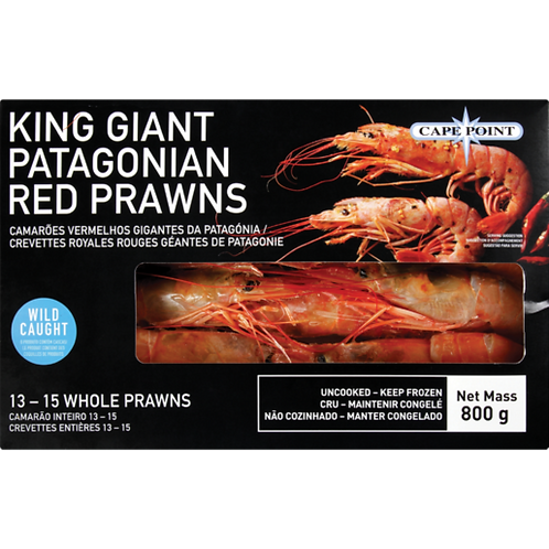 Cape Point Frozen King Giant Patagonian Red Prawns