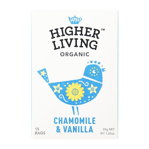 Higher Living™ Organic Chamomile & Vanilla Teabags (15 Teabags)