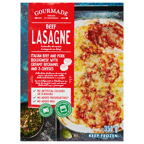 Gourmade Frozen Beef Lasagne Ready Meal