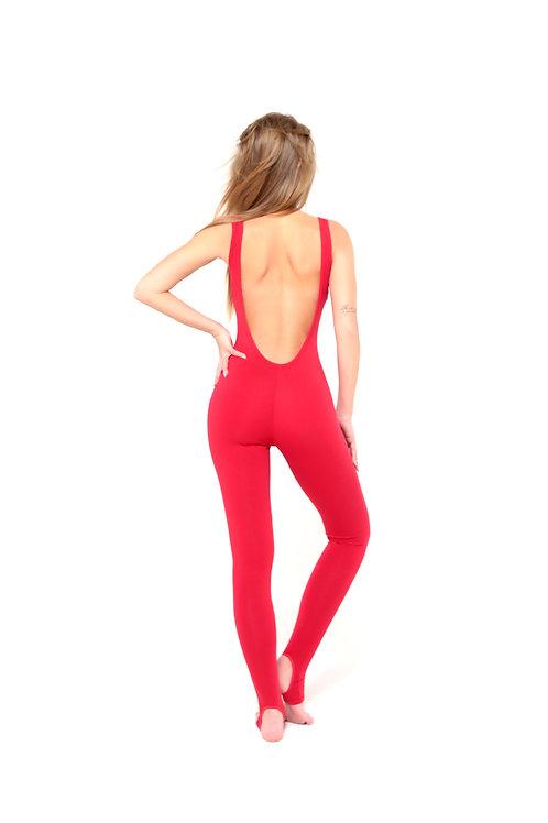 Комбинезон для йоги восстановленный красный (открытая спина)