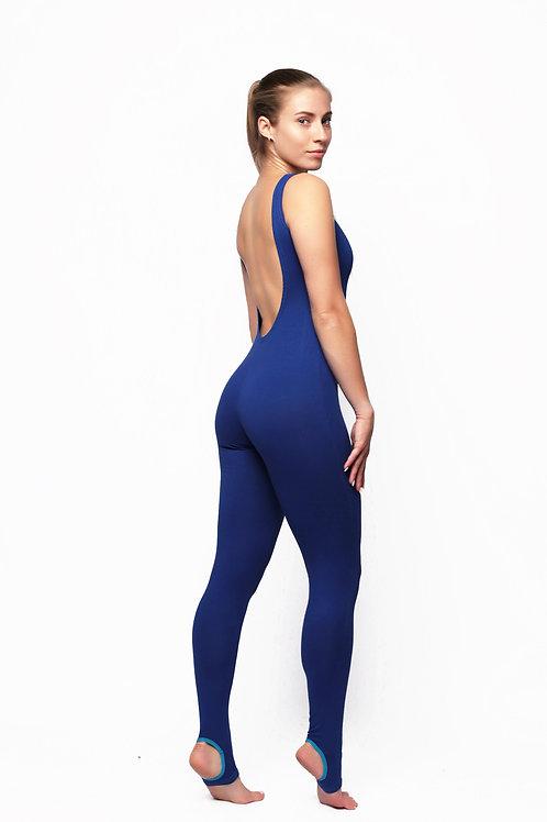 Комбинезон для йоги на маленький рост синий (открытая спина)