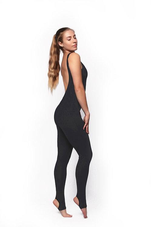Комбинезон для йоги на маленький рост чернильный (открытая спина)