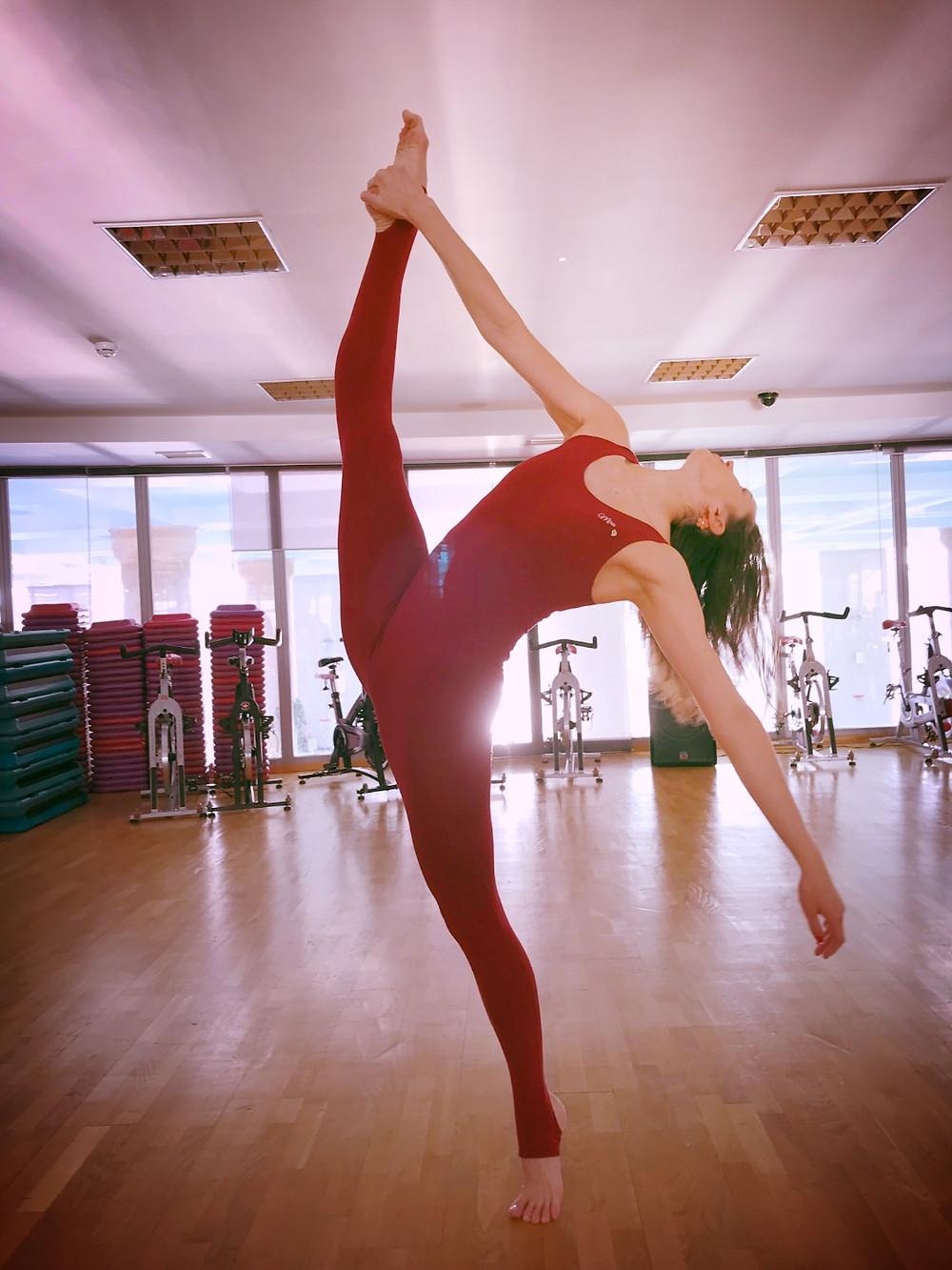 Красный слитный комбинезон Мира для занятий танцами