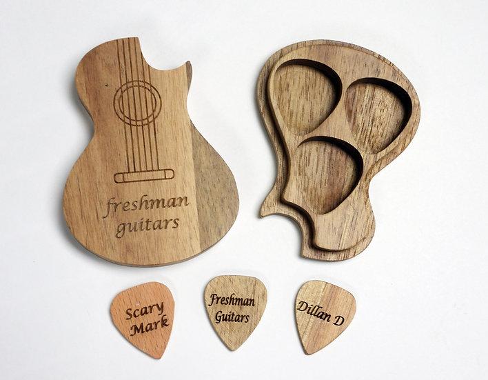 Guitar Shaped Pick Holder + 3 Picks