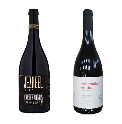 זוג יינות אדום: עמק יזראל קרניין - אדיר פטיט סירה ווין מייקר אדישן
