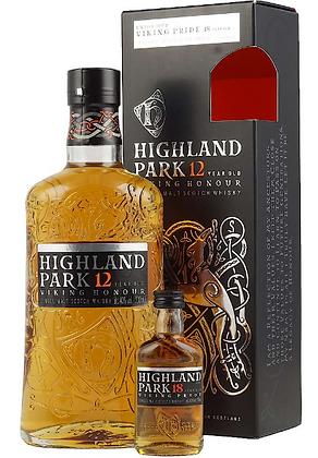 "Highland Park 12 years700ml+ 18 years 50ml - היילנד פארק  12 +18שנה 50מ""ל"