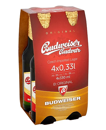 """באדווייזר באדוור רביעיית בקבוקים 330 מ""""ל"""